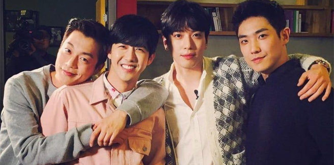 Yonghwa (CNBLUE) con Lee Joon (MBLAQ), Doojoon (Highlight) e Kwanghee in 'Would You Marry Me?'