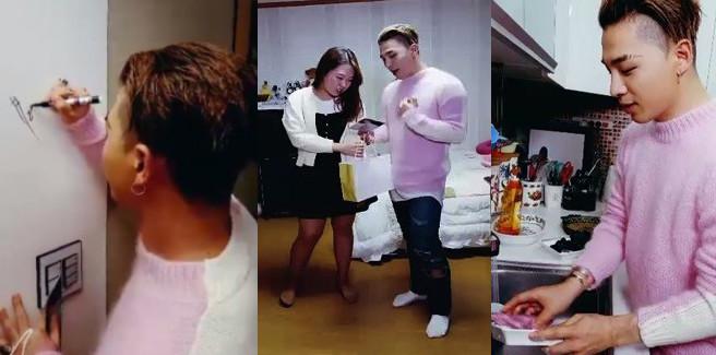 Taeyang dei BIGBANG mangia con una fan per il suo streaming con l'App V